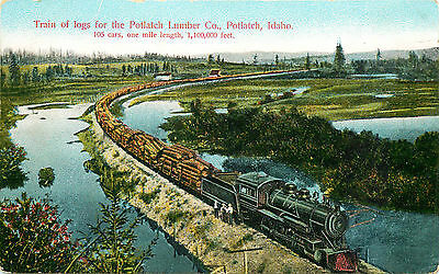 Logging Train, Potlatch, Idaho, Old Postcard