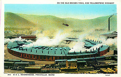 Osl Railroad Roundhouse, Pocatello, Idaho, Vintage Postcard