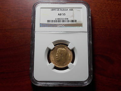 1899 EB Russia 10 Rouble Gold coin NGC AU-55