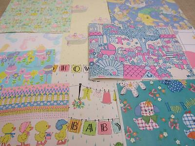 Assortment USED Vintage BABY SHOWER Gift Wrapping Paper REPURPOSE