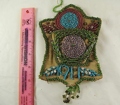 Beaded Hanging Match Holder Native American Dated 1911