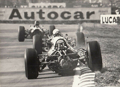 Rear Of Three Single Seaters Racing Period Photo Michael Cooper Stamp To Rear