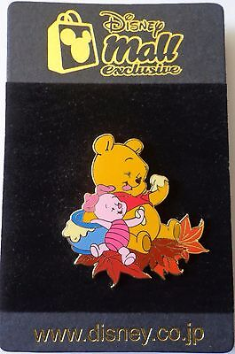 Japan Disney Mall Baby Pooh & Piglet on Autumn Leaves Le 100 Pin