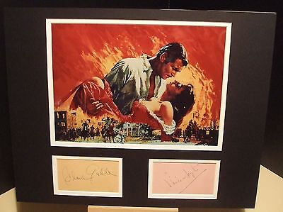 CLARK GABLE & VIVIEN LEIGH Gone with the Wind Signed Display UACC DEALER RD#285