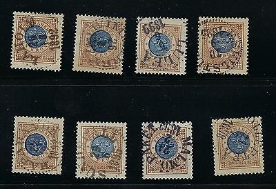 Sweden Scott 49 X8 with town cancels