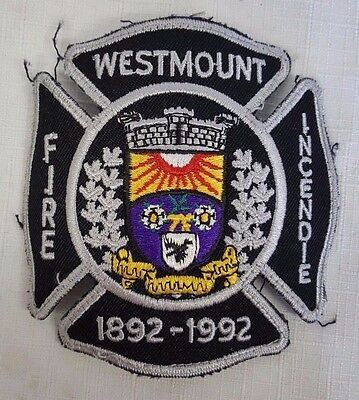 Westmount Fire Fighter Defunct Obsolete Uniform Patch 1992 Incendie Sew On Used