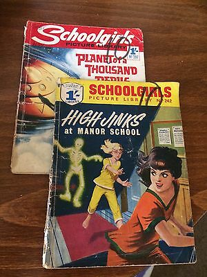 VINTAGE 1960's SCHOOLGIRLS PICTURE LIBRARY COMIC VOLUMES 242 & 297