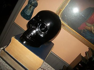huge black glass skull-very unique and in perfect cond. very eerie pc.made INDIA