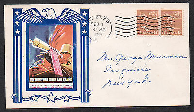 **US WWII Patriotic Cover, Barker, NY 2/1/1944 + Victory Poster Stamp