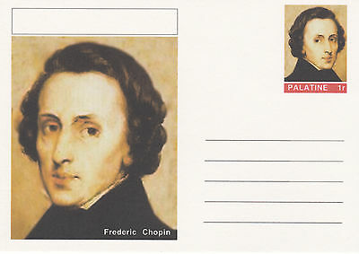 CINDERELLA - 4440 - FREDERIC CHOPIN on Fantasy Postal Stationery card