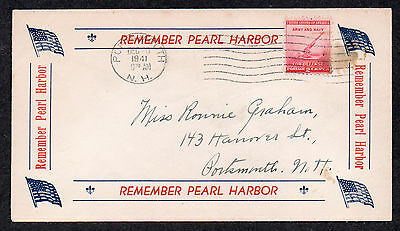 """**US WWII Patriotic Cover, Portsmouth, NH 12/20/1942 """"Remember Pearl Harbor"""""""