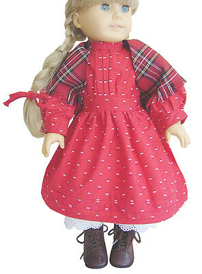 "Red School Dress + Shawl + Ribbons made for Pioneer Era 18"" Kirsten Doll Clothes"