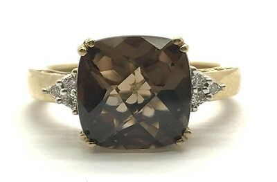 Sterling 925 Cushion Faceted Brown Smoky Topaz Diamond Accent Cocktail Ring 6.75
