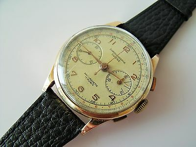 Gent's Vintage .750 18Ct Gold Swiss Chronograph Wrist Watch