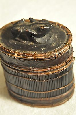 Rattan Box with Frog on Lid.  No flaws.  Beautiful!!