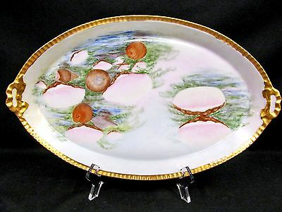 Bavaria Germany Painted Sea Shell Seascape Platter Gold Gilt Bow Handle Tray