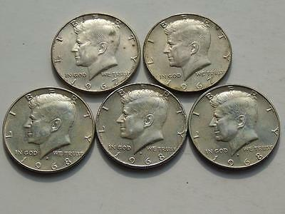 5 Kennedy Silver Halves 1967 x 2, and 1968-D x 3, US Silver Coins