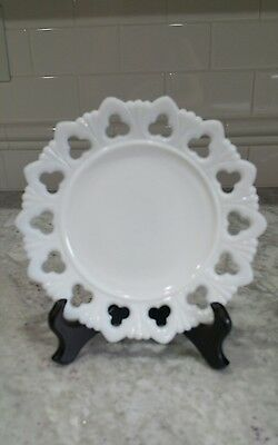 "MILK GLASS Vintage Plate Scalloped Three Leaf Clover Design 7"" White"