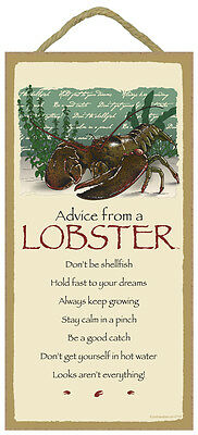 ADVICE FROM A LOBSTER wood INSPIRATIONAL SIGN wall hanging NOVELTY PLAQUE New