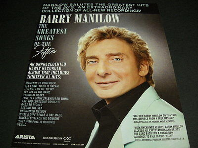 BARRY MANILOW does the Greatest Songs Of The Fifties 2006 PROMO DISPLAY AD mint