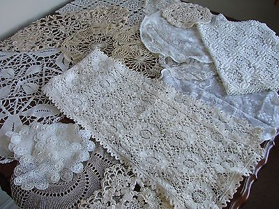 Mixed Lot of 23 vintage lace doilies,table mats & runner wedding,tea rooms party