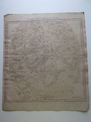 "1856 Burritt's ""the Constellations, Jun May Apr"" Celestial Map, Some Hand Color"