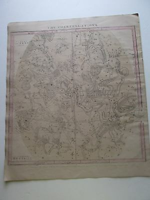 "1856 Burritt's ""the Constellations, Sep Aug Jul"" Celestial Map, Some Hand Color"