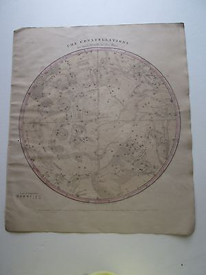 "1856 Burritt's ""the Constellations, For Each Month In The Year, Some Hand Color"