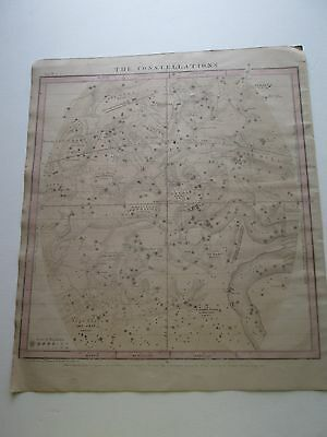 "1856 Burritt's ""the Constellations, Mar Feb Jan"" Celestial Map, Some Hand Color"