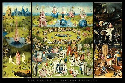Bosch Gardens of Earthly Delights art poster 24x36""