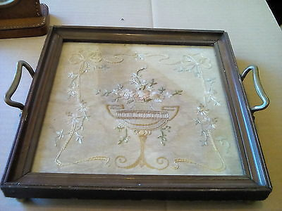 Vintage Embroidery Raised English Flower vase Framed Panel Tray watercolour back