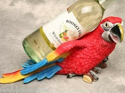 Red Macaw Parrot Perched Wine Bottle Holder 12 Inch Tropical Decor New W/ Box