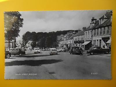 Main Street BIGGAR Lanarkshire *Vintage* RP c1960s Shops Old Cars Three Wheeler