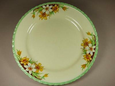 Yellow & White DAFFODILS Luncheon PLATE, Green Border, NEW HALL,1950s 23.5cm