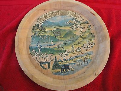 """great smoky mountains round 13"""" bamboo tray souvenirs Tennessee North Carolina"""
