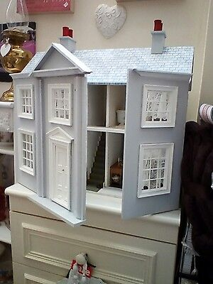 Lovely dolls house with 4 furnished room handmade bedding ect