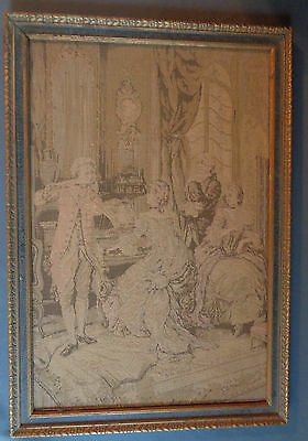 """Framed 19.5 x 13.5"""" Antique Tapestry Colonial Parlor Musicians Ladies Gentlemen"""