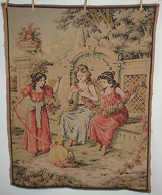 """Big French Antique Tapestry 3 Girls Children + Pet 40 x 50"""" Made in France Lot 2"""