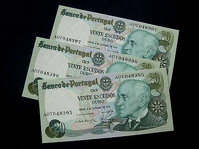 Portugal Banknote  4/10 1978 Trio Running Numbers Unc