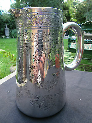 "Victorian Silver Water / Wine Jug London 1875 Queens Head 7 1/4"" 26 Oz 2 1/2 Pt"