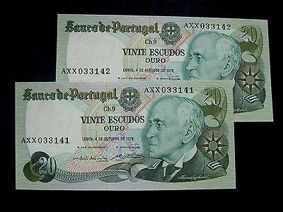 Portugal Banknote 4/10 20 Escudos 1978 Pair Running Numbers Unc
