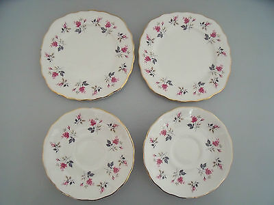Rare Collectable Royal Osborne Dipsy Rose Pink  Roses 2 Tea Plates & 2 Saucers