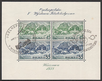 POLAND 1938 Mi#BL 5A USED EXHIBITION STAMP MIN SHEET
