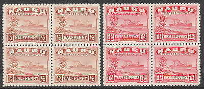 NAURU 1924 #26B #28B MNH/MUH MINT STEAMSHIP GV STAMP BLOCKS P11 shiny paper