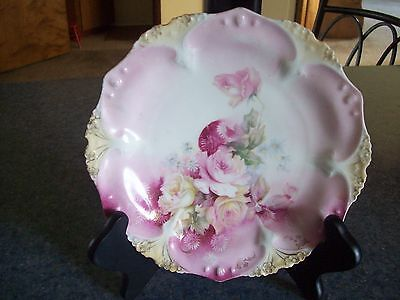 """R S Prussia pink roses plate  tiny bit gold edge  7.5"""" EUC"""
