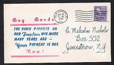 """**US WWII Patriotic Cover, Clearfield, PA 6/27/1944 """"Buy Bonds"""" Cachet"""