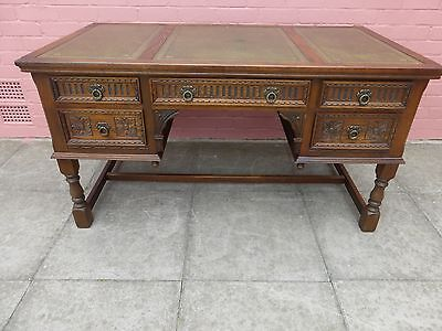 Old Charm Antique Green Leather inlay Desk ***DELIVERY AVAILABLE***
