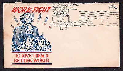 """**US WWII Patriotic Cover, San Diego, CA 6/16/1944 """"Work-Fight"""" Cachet, Free"""
