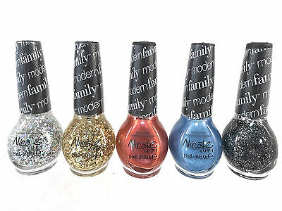 Lot Of 5 Nicole By Opi Nail Polish Modern Family Sparkle Glitter Blue