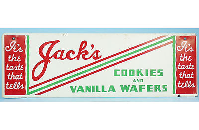 "RARE Vintage Original JACK'S COOKIES Metal Advertising SIGN Thorpe 21.5"" x 6.5"""